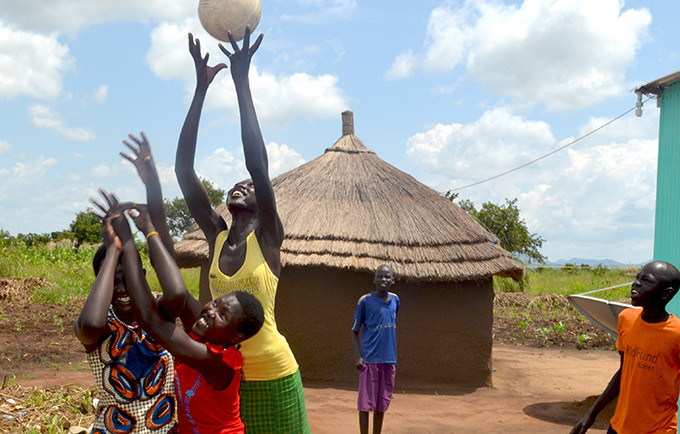 Girls play ball in the Ayilo Refugee Settlement