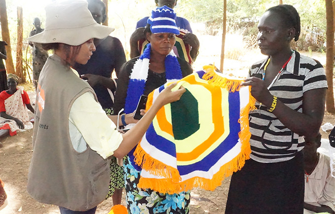 South Sudanese refugees display products they have been learning to produce at the Kakuma Support Centre in Turkana